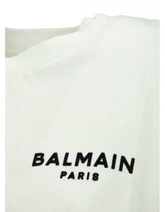 Tricou Balmain, Cropped, White - 11370B013GAB