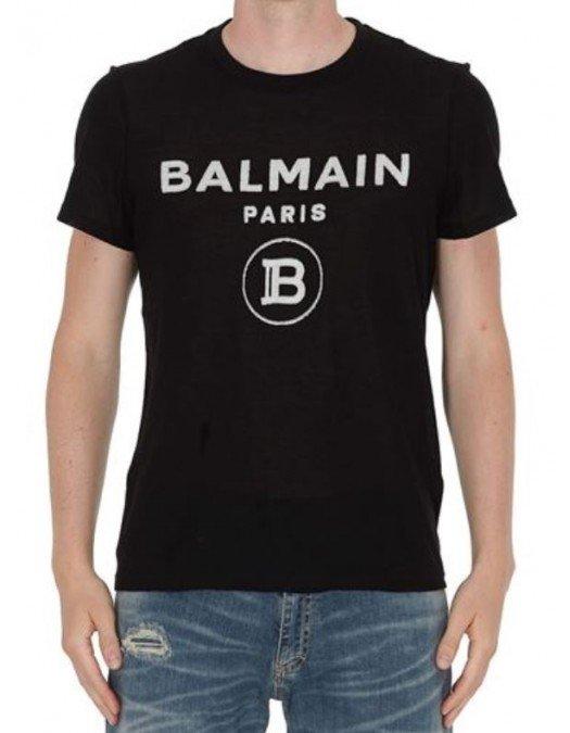 Tricou Balmain, Efect Frontal Tricotat, Negru - 11601I365EAB