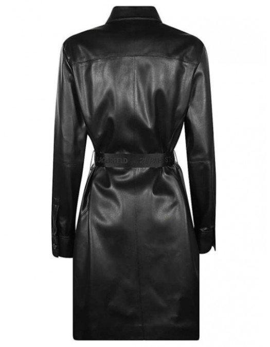 Rochie Karl Lagerfeld, Faux-LEATHER, Maneci lungi - 210W1309999