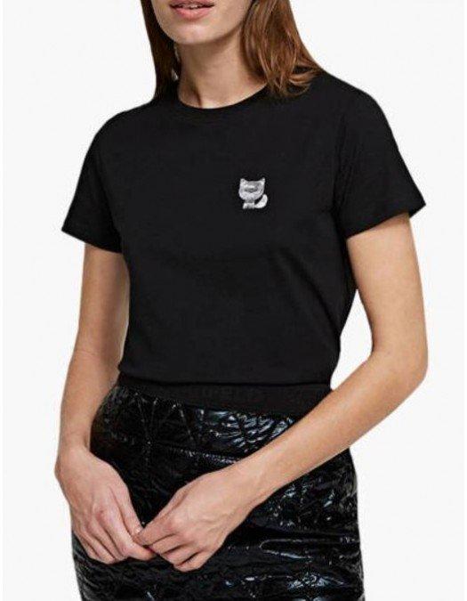 Tricou Karl Lagerfeld, Patch Cat, Negru - 210W1728999