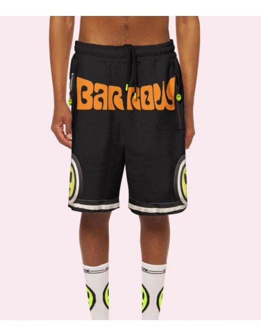 PANTALONI SCURTI BARROW, Logo Print, Black - 30937110