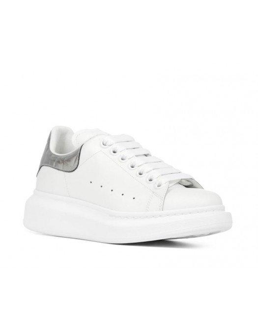 Sneakers Alexander Mcqueen, Insertie argintie, Alb -