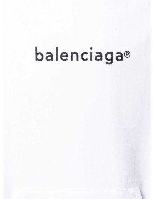 Hanorac BALENCIAGA, Logo, Alb - 570811TIV55