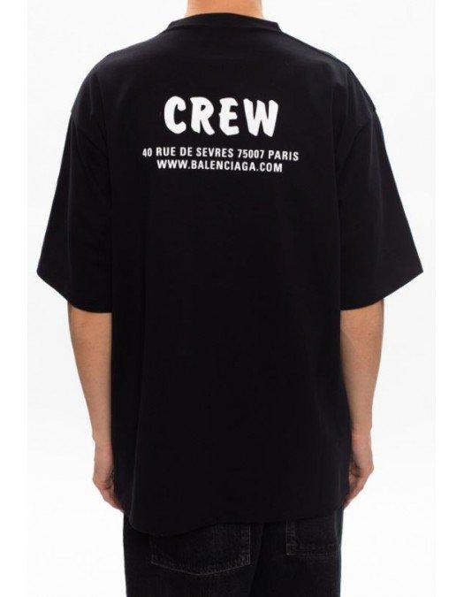 Tricou Balenciaga, Imprimeu frontal CREW, Negru - 620969TIV7470