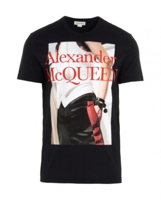 Tricou Alexander Mcqueen, Negru, Imprimeu contrastant - 624182QPZ7301