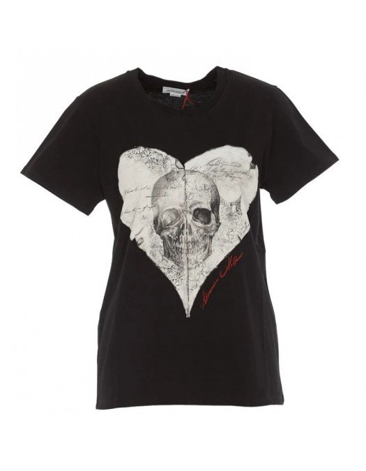 Tricou Alexander Mcqueen, Imprimeu frontal Skull, Negru - 642479QZAB90901