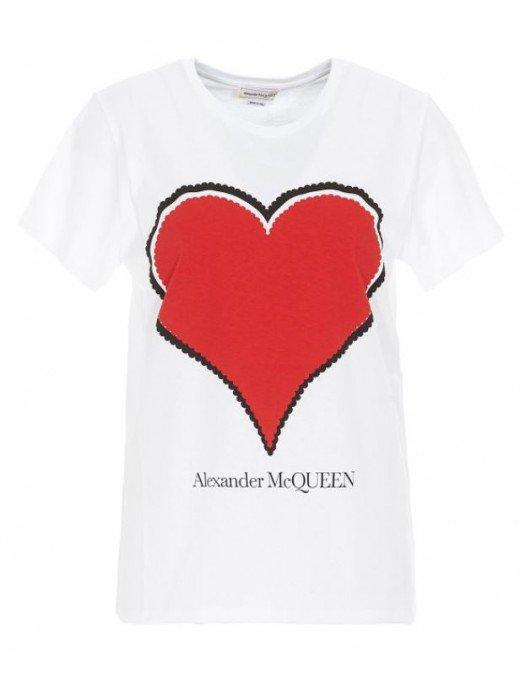 Tricou Alexander Mcqueen, Imprimeu frontal Heart, Alb - 642485QZACA00