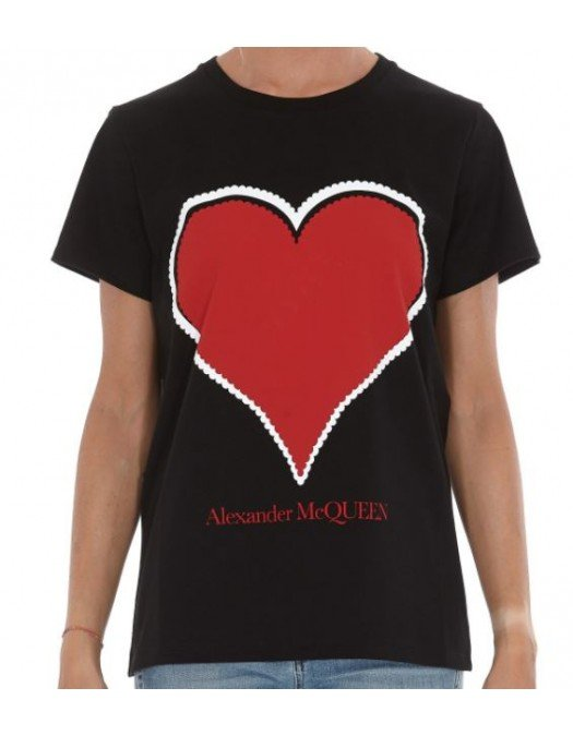 Tricou Alexander Mcqueen, Imprimeu frontal Heart, Negru - 642485QZACA01