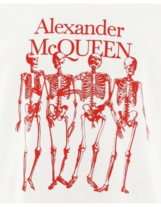 Tricou Alexander Mcqueen, Skeleton Print, Alb - 662547QRZ610900