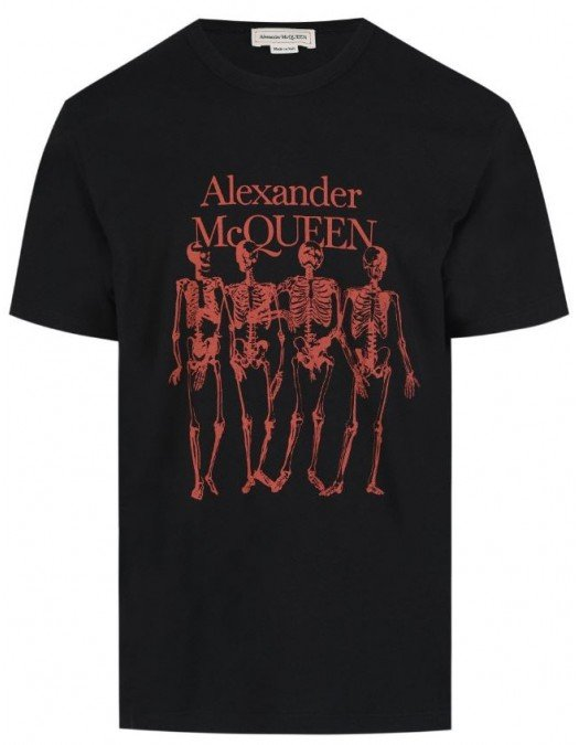 Tricou Alexander Mcqueen, Skeleton Print, Negru - 662547QRZ610901