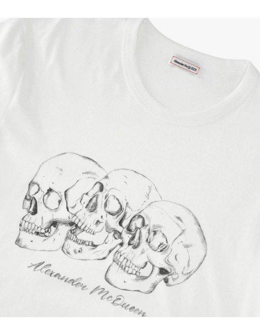 Tricou Alexander Mcqueen, Skull Print, Alb - 662548QRZ620900