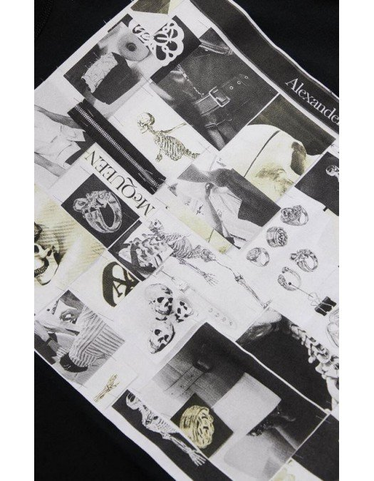 Tricou Alexander Mcqueen, Skull and rings Print, Negru - 662589QRZ750901