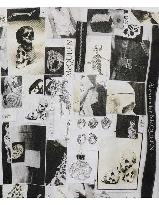 Tricou Alexander Mcqueen, Skull and rings Print, Alb - 662589QRZ750900