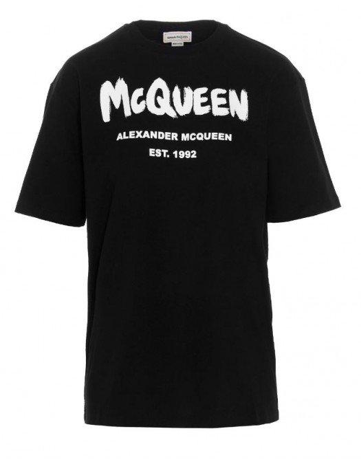 Tricou ALEXANDER MCQUEEN, Insertie Logo, Negru - 668428QZADK0520