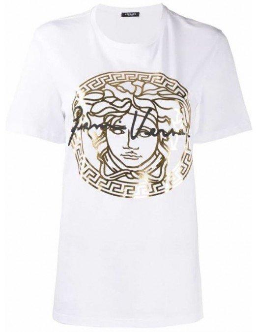 Tricou Versace, Imprimeu Auriu, Bumbac - A87456A228806A3272