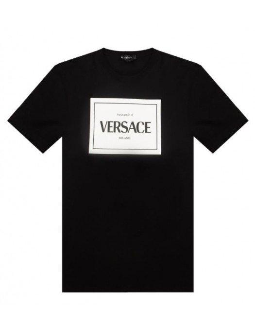 TRICOU VERSACE, Black, Imprimeu Alb - A89296A228806A1008