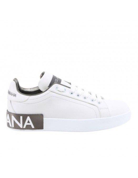 Sneakers Dolce & Gabbana, Piele, Portofino Alb/Argintiu - CK1544AX615875663