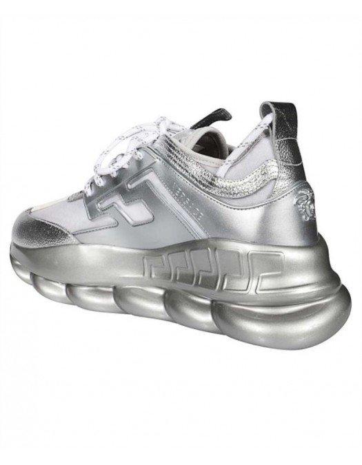 Sneakers Versace, Gri metalizat, Logo atasat -