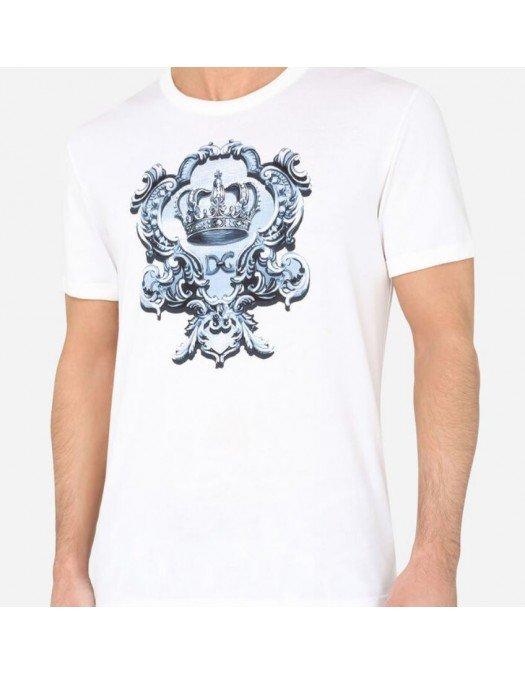 Tricou Dolce&Gabbana, Logo blue, Alb - G8JX7TFI76FHW2IQ