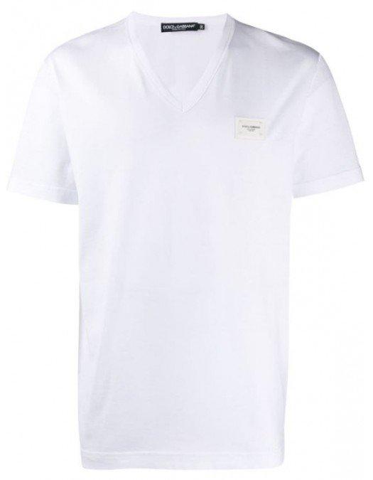 Tricou Dolce&Gabbana, Logo Atasat, Alb - G8KK0TW0800