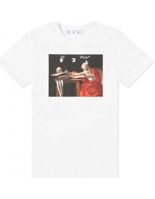 TRICOU OFF WHITE, Alb, Imprimeu Caravaggio, Oversized - OMAA027R21JER0040125