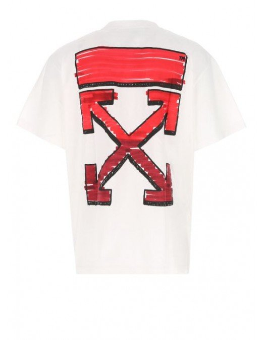 Tricou Off White, Tag Red, Oversized - OMAA038R21JER0020125