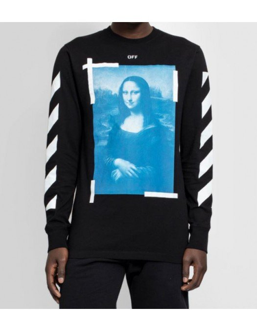 Bluza OFF White, Imprimeu Mona Lisa, Black - OMAB001R21JER0021001