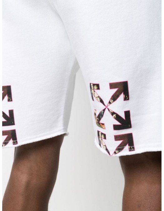 Pantaloni scurti OFF WHITE, Arrows Print, Alb - OMCI006S21FLE0030110