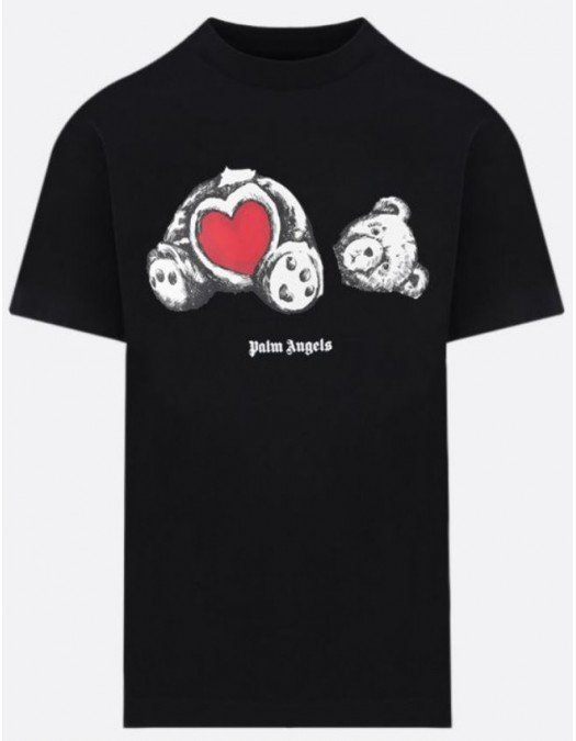 Tricou PALM ANGELS, Insertie Tedy Bear Heart - PMAA001S21JER0211001