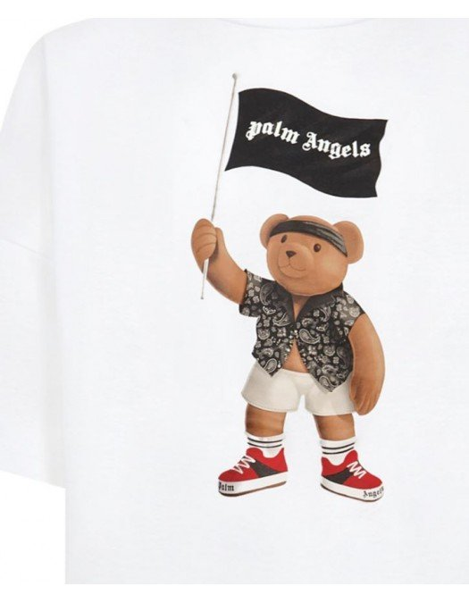 Tricou PALM ANGELS, Pirate Bear, Alb - PMAA041S21JER0060101