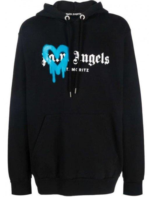 HANORAC PALM ANGELS, Sprayed Heart in Blue - PMBB003F21FLE0011045