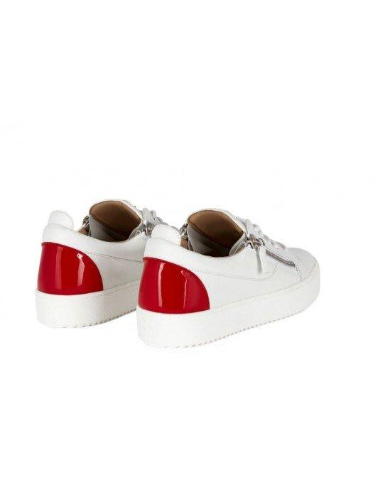 Sneakers GIUSEPPE ZANOTTI, Frankie, Alb cu insertie rosie la spate - RM10039002