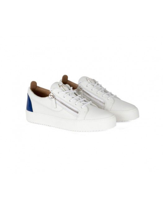 Sneakers GIUSEPPE ZANOTTI, Frankie, Alb cu insertie bleu la spate - RM10039004