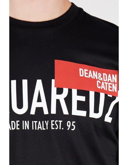 Tricou Dsquared2, Imprimeu Dean and Dan Caten, Negru - S71GD1021S23009100