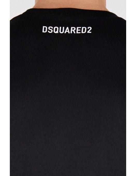 Tricou Dsquared2, Imprimeu Respect my space, Negru - S71GD1022S23009900