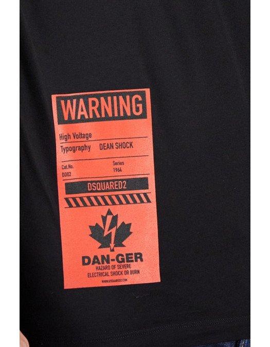 Tricou DSQUARED2, Eticheta Rosie, Negru - S71GD1039S23009900