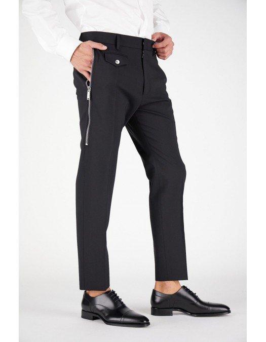 Pantaloni DSQUARED2, Cu fermoare metalice, Negru - S71KB0354S40320900