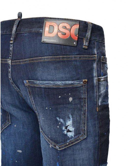 JEANS DSQUARED2, Patch atasat, Denim - S71LB0839470