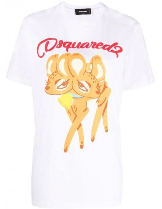Tricou DSQUARED2, WHITE , DEER - S72GD0324S23009100
