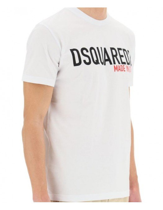 Tricou Dsquared2, White, Imprimeu Made in Italy - S74GD0828100100