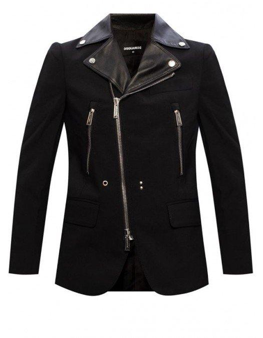 Jacheta DSQUARED2, Biker Jacket, Piele si bumbac, Fermoar metalic - S75BN0753900