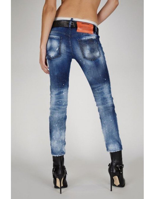 Jeans Dsquared2, Jennifer Cropped Fit, Bumbac, Blue - S75LB0462S30342470
