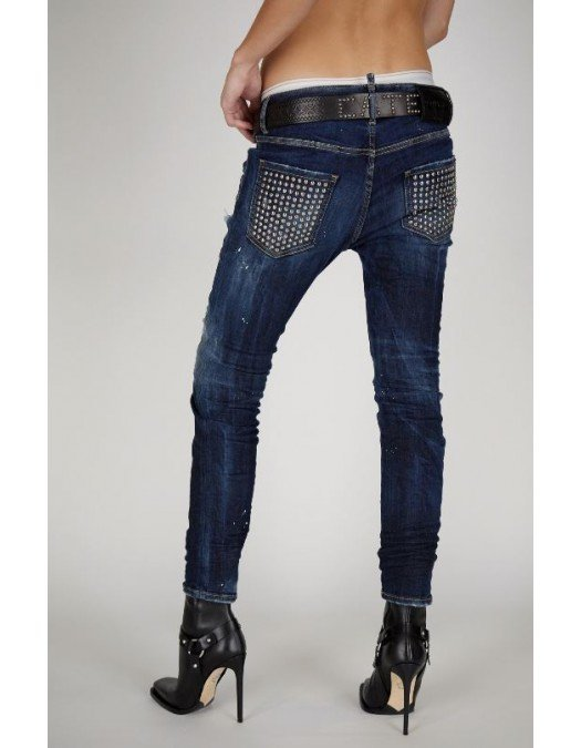Jeans Dsquared2,  Cu insertii metalice pe buzunare, Blue - S75LB0492S30708470