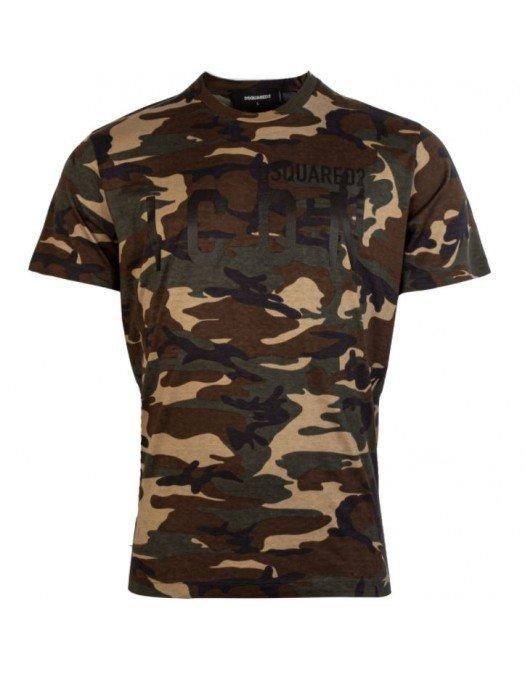 Tricou Dsquared2, Imprimeu Camouflage, Inscriptie Frontala - S79GC0009962