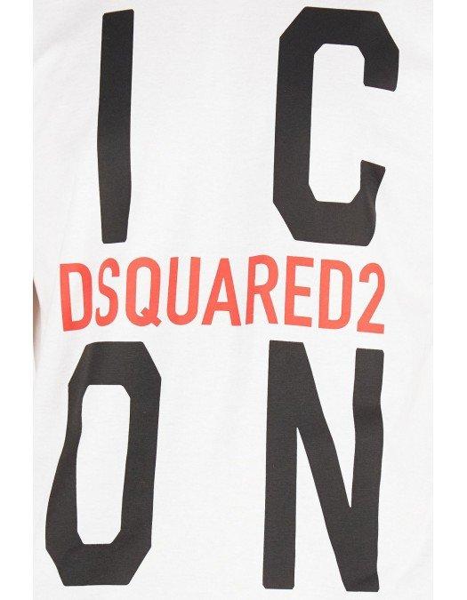 Tricou DSQUARED2, Imprimeu Icon Dsquared2, Alb - S79GC0021S23009100
