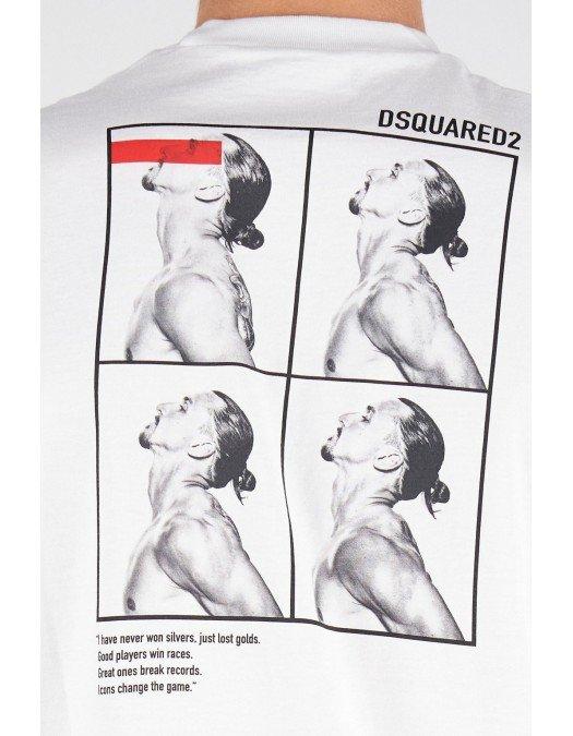 Tricou Dsquared2, Ibrahimovic, Cu print pe spate, Alb - S79GC0026S23009100