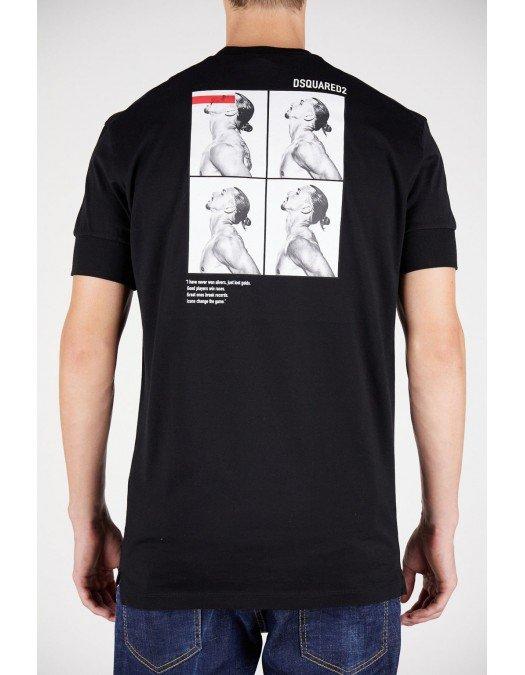 Tricou Dsquared2, Ibrahimovic, Cu print pe spate, Negru - S79GC0026S23009900