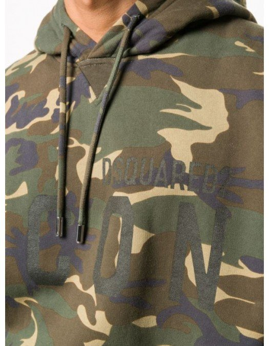 Hanorac Dsquared2, Imprimeu ICON, Camouflage -