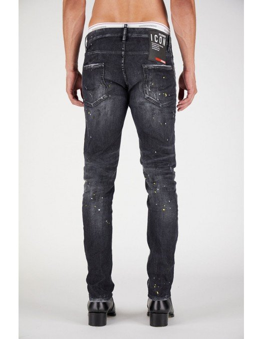 Jeans Dsquared2, IBRAHIMOVIC SLIM JEANS,  Negru - S79LA0029S30503900