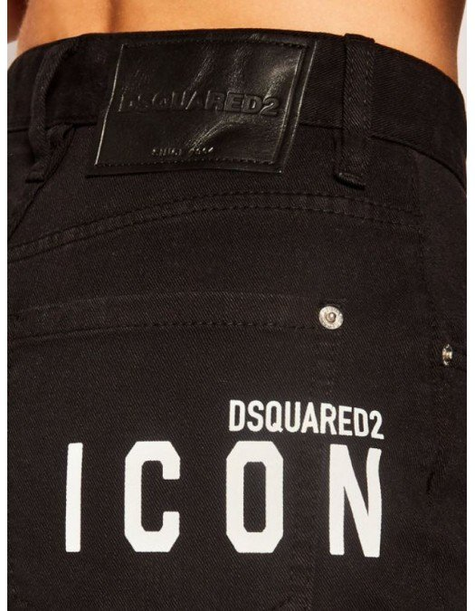 Pantaloni scurti Dsquared2, Denim, Black, Icon alb - S80MU0002S30564900